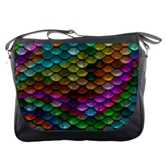 Fish Scales Pattern Background In Rainbow Colors Wallpaper Messenger Bags