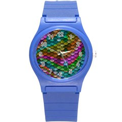 Fish Scales Pattern Background In Rainbow Colors Wallpaper Round Plastic Sport Watch (s)