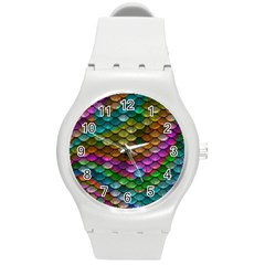 Fish Scales Pattern Background In Rainbow Colors Wallpaper Round Plastic Sport Watch (m)