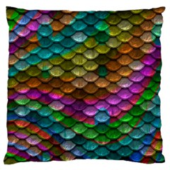 Fish Scales Pattern Background In Rainbow Colors Wallpaper Large Cushion Case (One Side)