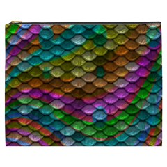 Fish Scales Pattern Background In Rainbow Colors Wallpaper Cosmetic Bag (xxxl)