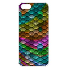 Fish Scales Pattern Background In Rainbow Colors Wallpaper Apple iPhone 5 Seamless Case (White)