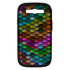 Fish Scales Pattern Background In Rainbow Colors Wallpaper Samsung Galaxy S III Hardshell Case (PC+Silicone)