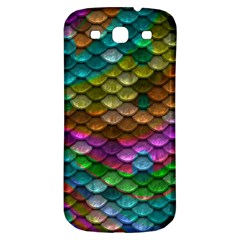 Fish Scales Pattern Background In Rainbow Colors Wallpaper Samsung Galaxy S3 S III Classic Hardshell Back Case