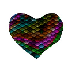 Fish Scales Pattern Background In Rainbow Colors Wallpaper Standard 16  Premium Heart Shape Cushions