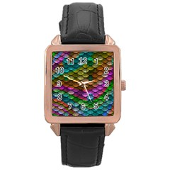 Fish Scales Pattern Background In Rainbow Colors Wallpaper Rose Gold Leather Watch