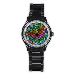 Fish Scales Pattern Background In Rainbow Colors Wallpaper Stainless Steel Round Watch