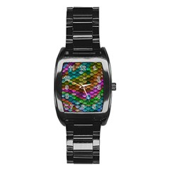 Fish Scales Pattern Background In Rainbow Colors Wallpaper Stainless Steel Barrel Watch