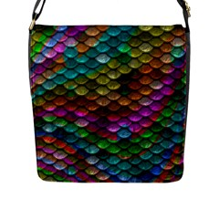 Fish Scales Pattern Background In Rainbow Colors Wallpaper Flap Messenger Bag (L)