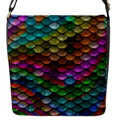Fish Scales Pattern Background In Rainbow Colors Wallpaper Flap Messenger Bag (S)
