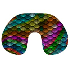 Fish Scales Pattern Background In Rainbow Colors Wallpaper Travel Neck Pillows