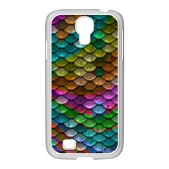 Fish Scales Pattern Background In Rainbow Colors Wallpaper Samsung GALAXY S4 I9500/ I9505 Case (White)