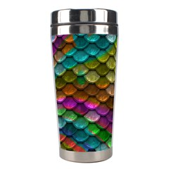 Fish Scales Pattern Background In Rainbow Colors Wallpaper Stainless Steel Travel Tumblers