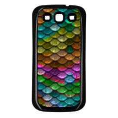 Fish Scales Pattern Background In Rainbow Colors Wallpaper Samsung Galaxy S3 Back Case (Black)