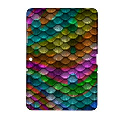 Fish Scales Pattern Background In Rainbow Colors Wallpaper Samsung Galaxy Tab 2 (10.1 ) P5100 Hardshell Case
