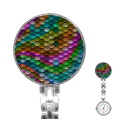 Fish Scales Pattern Background In Rainbow Colors Wallpaper Stainless Steel Nurses Watch