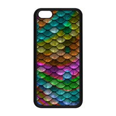 Fish Scales Pattern Background In Rainbow Colors Wallpaper Apple iPhone 5C Seamless Case (Black)