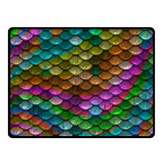 Fish Scales Pattern Background In Rainbow Colors Wallpaper Double Sided Fleece Blanket (Small)