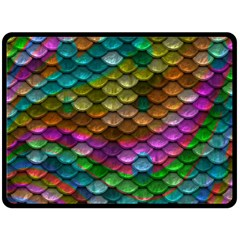 Fish Scales Pattern Background In Rainbow Colors Wallpaper Double Sided Fleece Blanket (large)