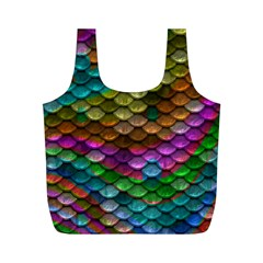 Fish Scales Pattern Background In Rainbow Colors Wallpaper Full Print Recycle Bags (m)