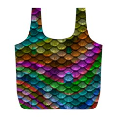 Fish Scales Pattern Background In Rainbow Colors Wallpaper Full Print Recycle Bags (l)