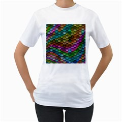 Fish Scales Pattern Background In Rainbow Colors Wallpaper Women s T-Shirt (White)