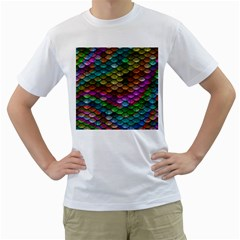 Fish Scales Pattern Background In Rainbow Colors Wallpaper Men s T-Shirt (White)