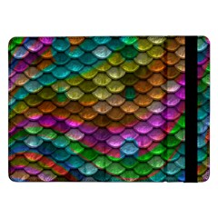 Fish Scales Pattern Background In Rainbow Colors Wallpaper Samsung Galaxy Tab Pro 12.2  Flip Case