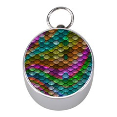 Fish Scales Pattern Background In Rainbow Colors Wallpaper Mini Silver Compasses