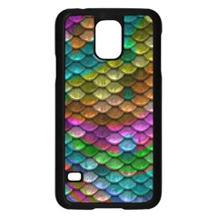 Fish Scales Pattern Background In Rainbow Colors Wallpaper Samsung Galaxy S5 Case (black)