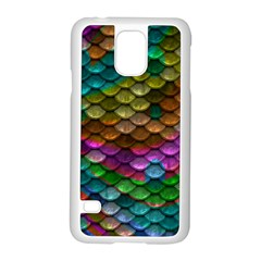 Fish Scales Pattern Background In Rainbow Colors Wallpaper Samsung Galaxy S5 Case (white)