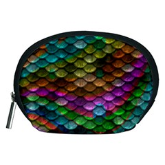 Fish Scales Pattern Background In Rainbow Colors Wallpaper Accessory Pouches (Medium)