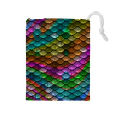 Fish Scales Pattern Background In Rainbow Colors Wallpaper Drawstring Pouches (large)