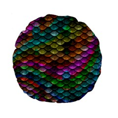 Fish Scales Pattern Background In Rainbow Colors Wallpaper Standard 15  Premium Flano Round Cushions