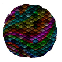 Fish Scales Pattern Background In Rainbow Colors Wallpaper Large 18  Premium Flano Round Cushions