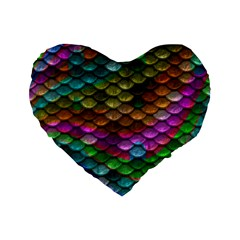 Fish Scales Pattern Background In Rainbow Colors Wallpaper Standard 16  Premium Flano Heart Shape Cushions