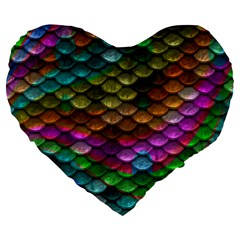 Fish Scales Pattern Background In Rainbow Colors Wallpaper Large 19  Premium Flano Heart Shape Cushions