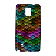 Fish Scales Pattern Background In Rainbow Colors Wallpaper Samsung Galaxy Note 4 Hardshell Case