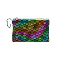 Fish Scales Pattern Background In Rainbow Colors Wallpaper Canvas Cosmetic Bag (S)