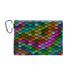 Fish Scales Pattern Background In Rainbow Colors Wallpaper Canvas Cosmetic Bag (M)