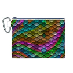 Fish Scales Pattern Background In Rainbow Colors Wallpaper Canvas Cosmetic Bag (L)