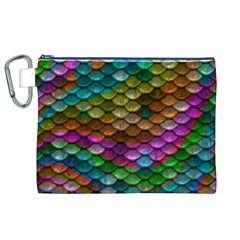 Fish Scales Pattern Background In Rainbow Colors Wallpaper Canvas Cosmetic Bag (XL)