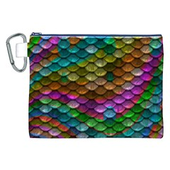 Fish Scales Pattern Background In Rainbow Colors Wallpaper Canvas Cosmetic Bag (XXL)