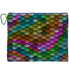 Fish Scales Pattern Background In Rainbow Colors Wallpaper Canvas Cosmetic Bag (XXXL)