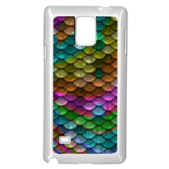 Fish Scales Pattern Background In Rainbow Colors Wallpaper Samsung Galaxy Note 4 Case (White)