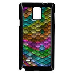 Fish Scales Pattern Background In Rainbow Colors Wallpaper Samsung Galaxy Note 4 Case (Black)
