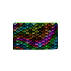 Fish Scales Pattern Background In Rainbow Colors Wallpaper Cosmetic Bag (xs)