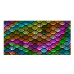 Fish Scales Pattern Background In Rainbow Colors Wallpaper Satin Shawl