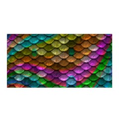 Fish Scales Pattern Background In Rainbow Colors Wallpaper Satin Wrap
