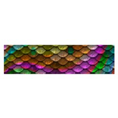 Fish Scales Pattern Background In Rainbow Colors Wallpaper Satin Scarf (Oblong)